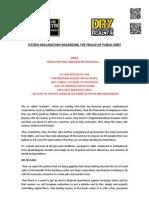 Real Democracy Now - Citizen Declaration Regarding the Fraud of Public Debt