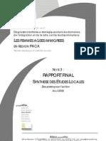 Femmes âgées immigrées en PACA - Rapport Définitif & Synthèse Des d'études Locales