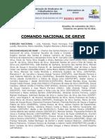 Informe de 6 de setembro de 2011 do Comando Nacional de Greve