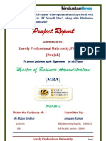 """Project Report on """"HT media limited"""". by ANUPAM KUMAR"""