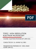 HIGH RESOLATION OF ELECTRON MICROSCOPE