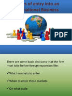Modes of Entry Into an International Business NEW