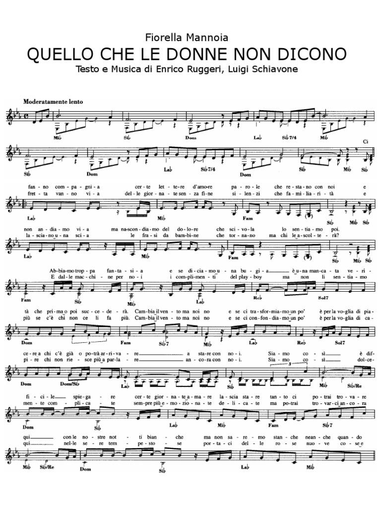 Top Spartiti Pianoforte - Quello Che Le Donne Non Dicono - Fiorella  OF34