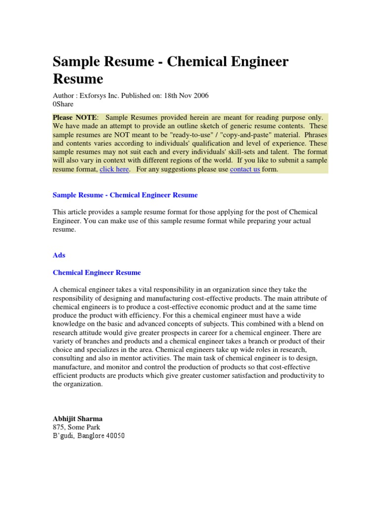 Sample Resumes | Chemical Engineering | Gas Chromatography