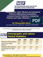 Rebalancing, labor market and industrial policies, addressing inequalities, inclusive social protection Industrial policies and labor markets in Malaysia (Presentation)