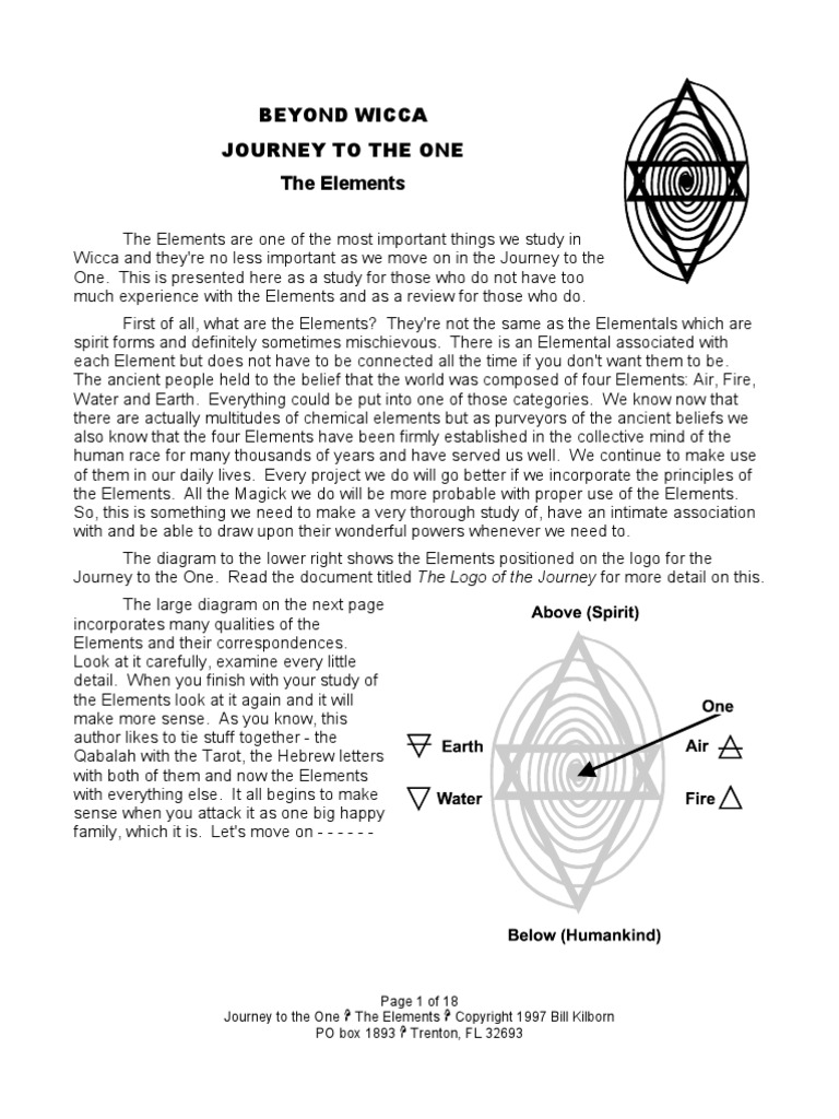 Beyond Wicca Journey To The One The Elements: Page 1 of 18
