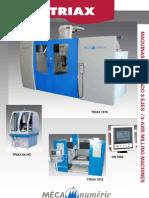 Especificaciones técnicas Fresadoras 3 Ejes Mécanuméric TRIAX para industria.