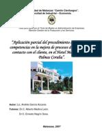 Aplicación parcial del procedimiento Gestión por Competencias a la mejora de procesos