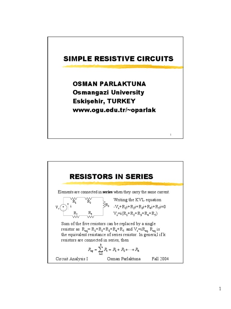 Resistive Circuits Series And Parallel Network Analysis Equivalent Resistance Circuit Examples Electrical
