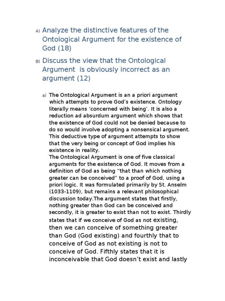ontological thesis Anselm's ontological argument purports to be an a priori proof of god's existence  anselm starts with premises that do not depend on experience for their.
