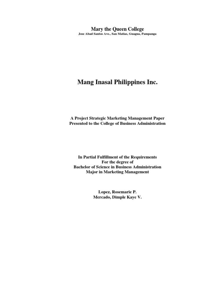 mang inasal vision and mission statement