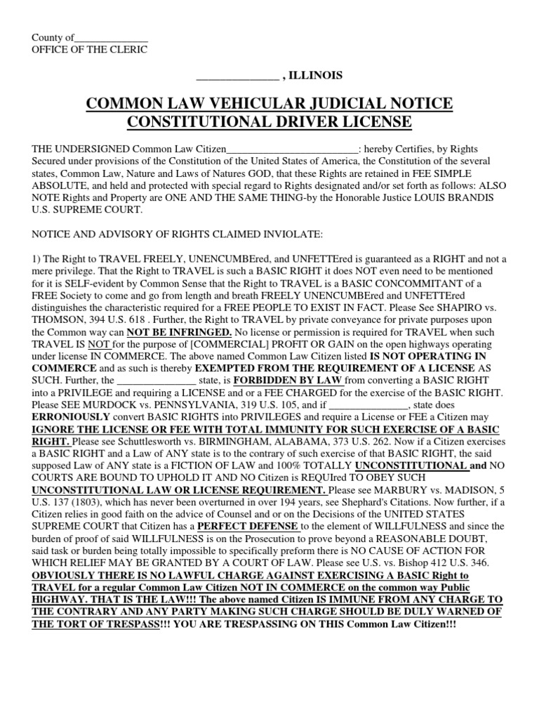 Common Law Right to Travel  United States Constitution  Freedom Of Movement