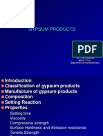 Gypsum products – Compositions, Properties and uses