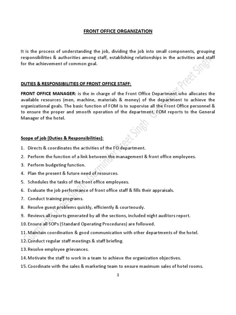 Duties Amp Responsibilities Of Front Office Staff Debits