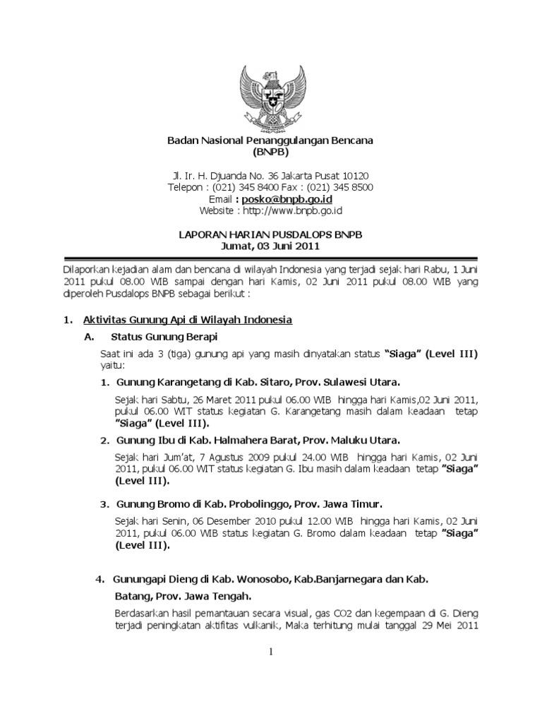 Laporan Harian Posko 020611