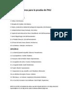 Relación de obras para la prueba de PAU