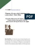 Discurso Del Dr Luis Castro Leiva Del 23 de Enero de 1998