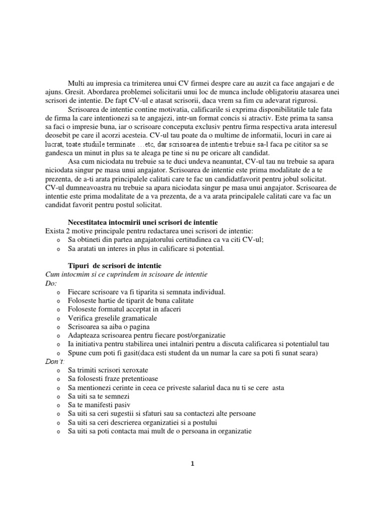Model Scrisoare Prezentare | PDF