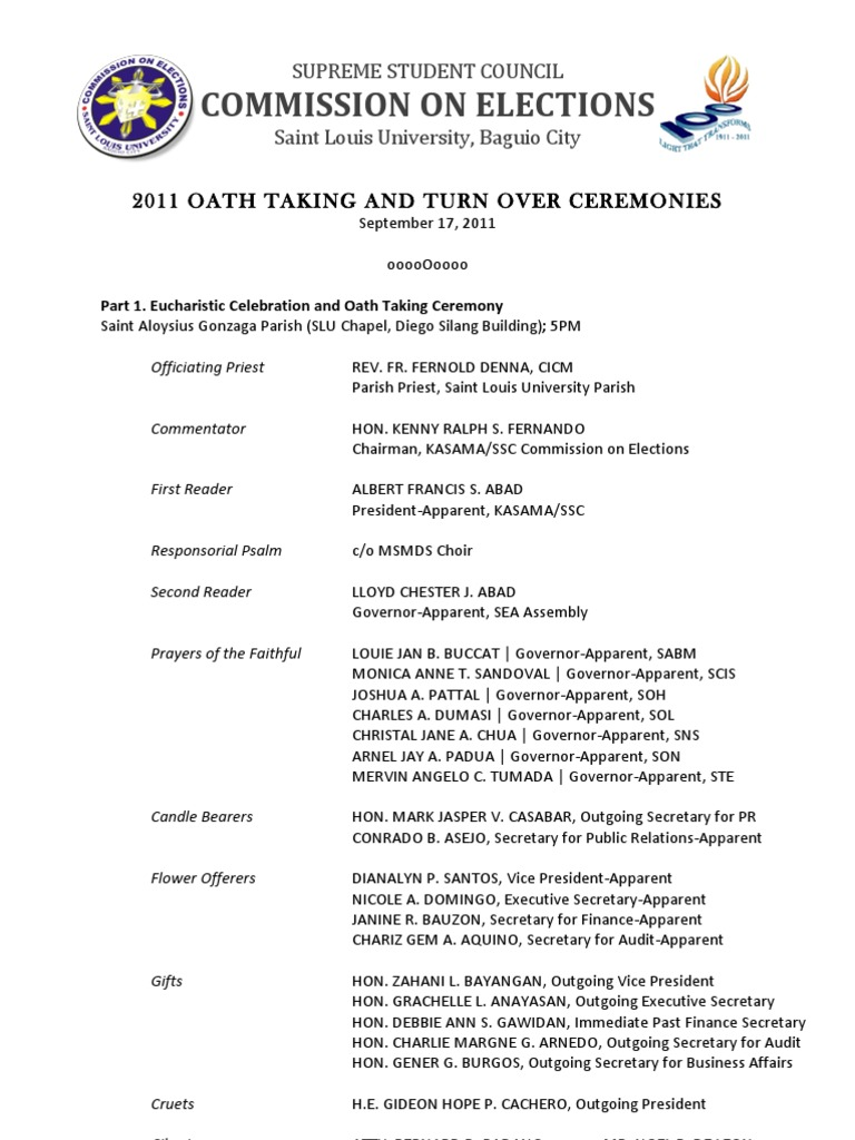 Oath Taking and Turn Over Ceremonies Program | Elections