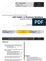 SAP HANA Solutions Readiness and Assessment by JOTHI V09112011