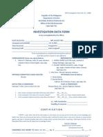 NPS Investigation Form No