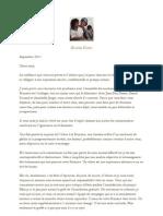 Lettre de Nicolas Hulot