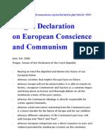 2008 Prague Declaration on European Conscience and Communism