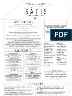 Satis Fall Dinner Menu as of September 20, 2011