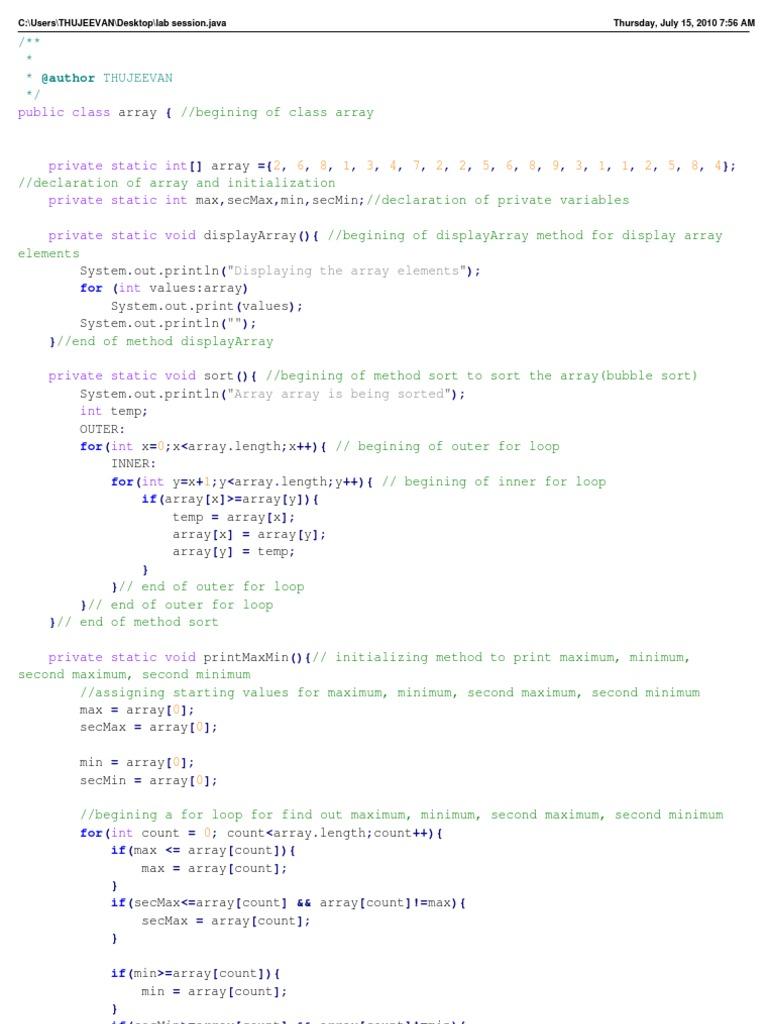 Lab Session | Array Data Structure | Maxima And Minima