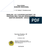 ANALISA LOCATION QUOTIENT ( LQ ) DI PROPINSI BALI UNTUK MENENTUKA SEKTOR EKONOMI  UNGGULAN