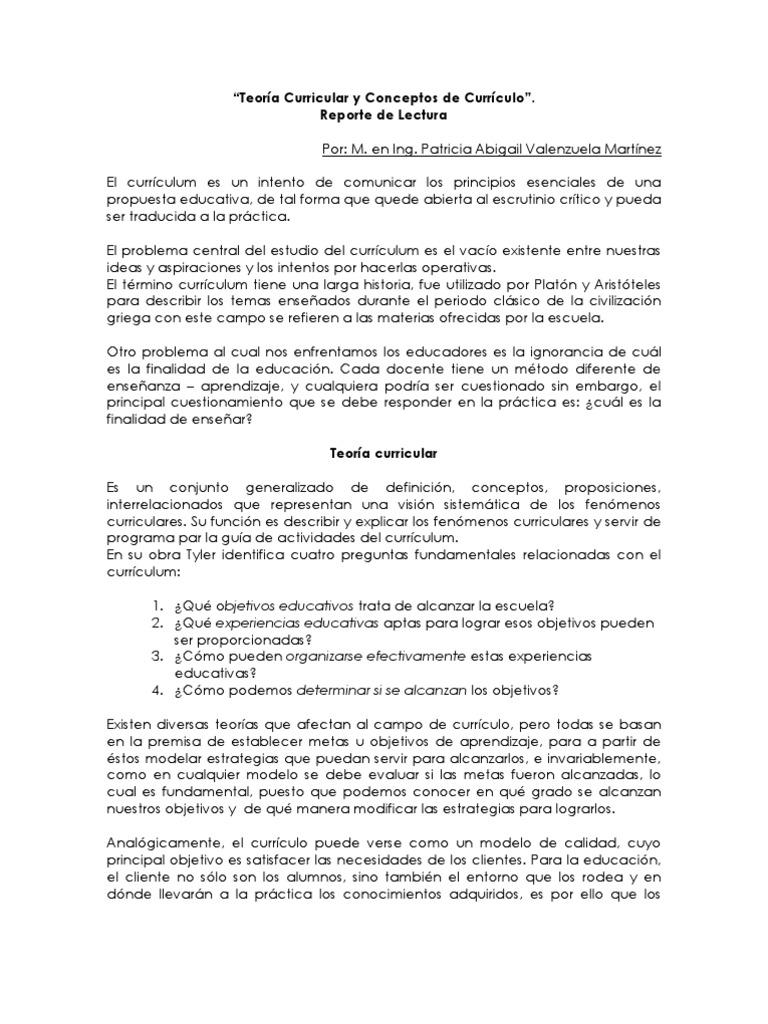 Reporte de Lectura - Teoría Curricular y Conceptos de Currículo
