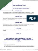 Reformas Al Procesal Penal 7-2011