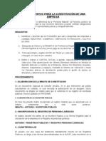 Procedimientos para la constitución de una empresa