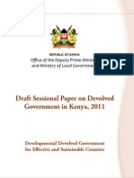 Draft Sessional Paper on Devolved in Kenya, 2011
