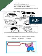AVALIAÇÃO DE INGLÊS 6º ANO