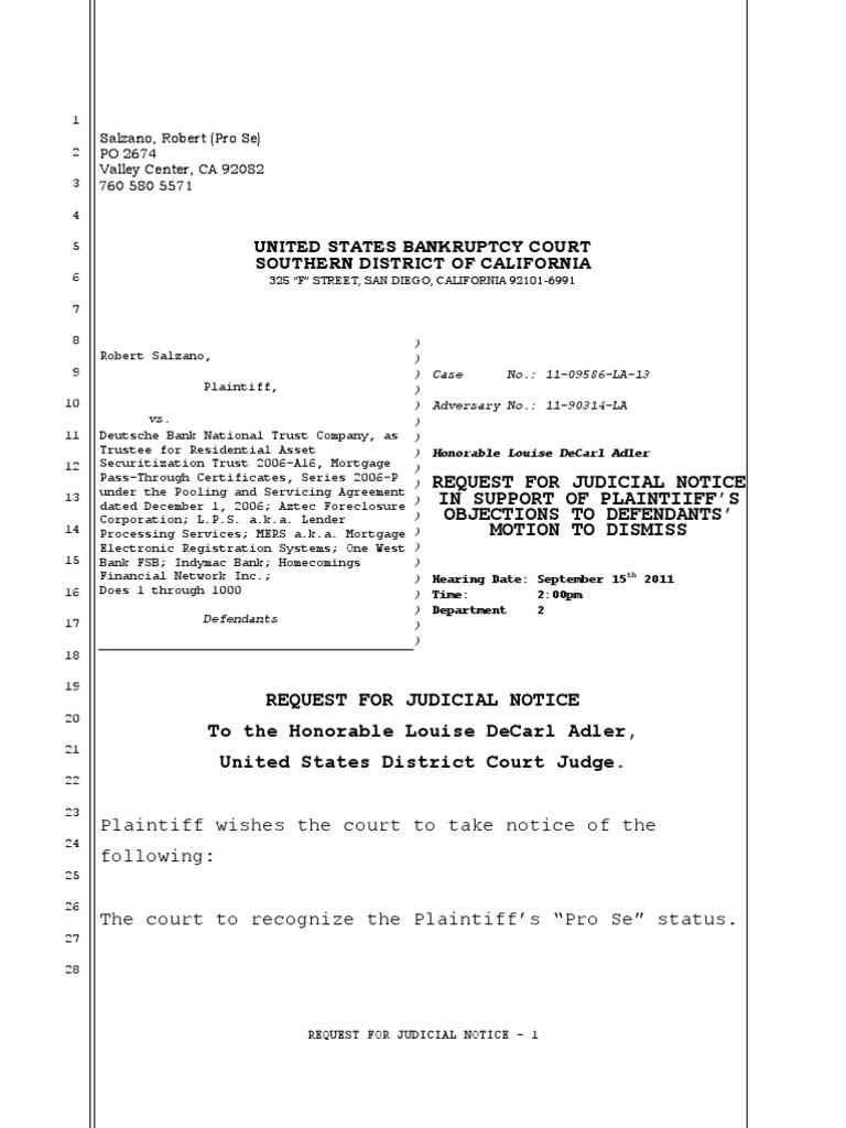 Judicial Notice | Foreclosure | Assignment (Law)