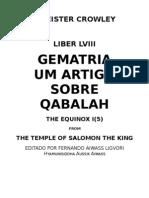 Aleister Crowley - Gematria Um Artigo Sobre Qabalah