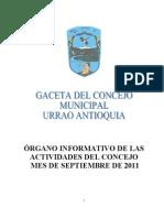 Gaceta agosto 2011, concejo de Urrao+cu-2011+GACETA AGOSTO