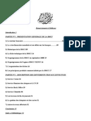 RAPPORT BMCI TÉLÉCHARGER DE STAGE