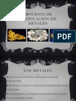 Procesos de purificación de metales