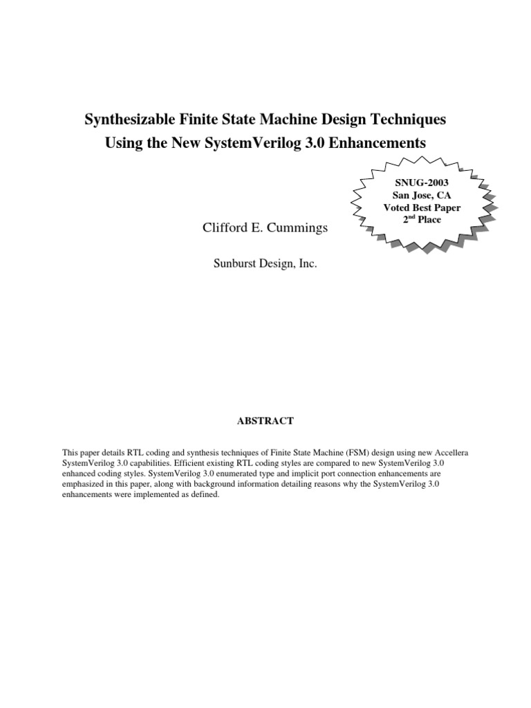 Systemverilogfsm Logic Synthesis Parameter Computer Programming Finite State Machine The Fsm Index Diagram Example