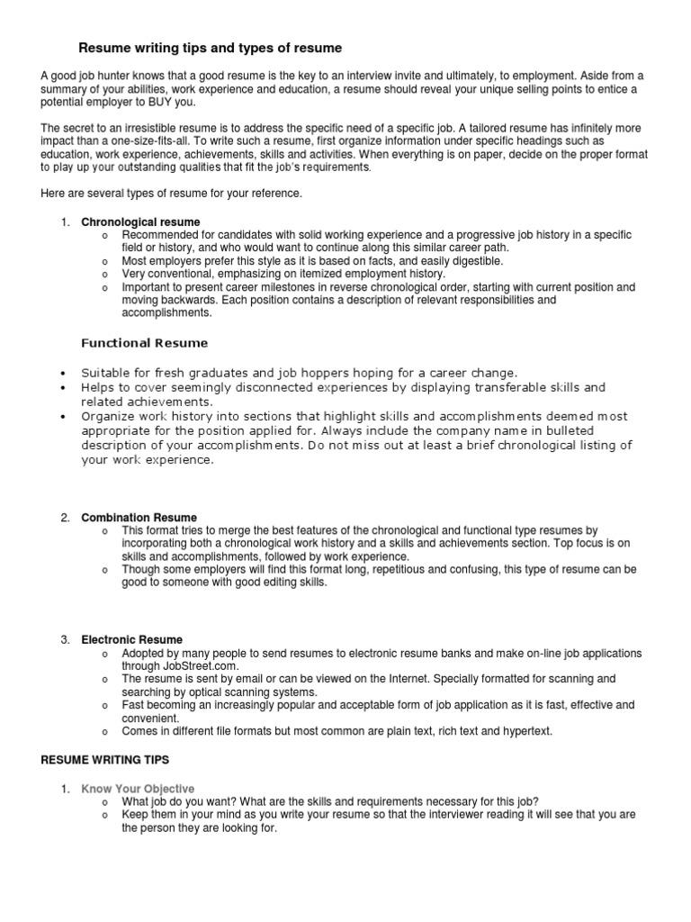 resume résumé file format