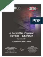Viavoice Libération. Septembre 2011