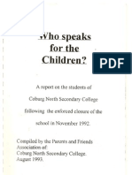 Coburg North Secondary College Parents and Friends Association - Who Speaks for the Children Report