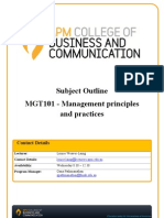 MGT101 Management Principles and Practices v1 T2 2011 F2F Liang Subject Outline