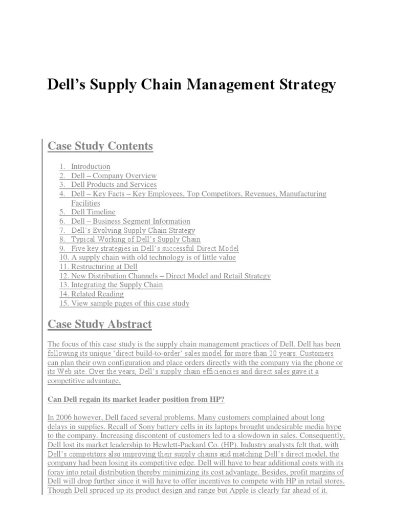 dell supply chain management case study