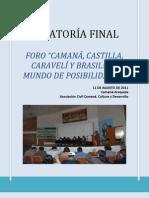 RELATORÍA FINAL FORO CAMANÁ