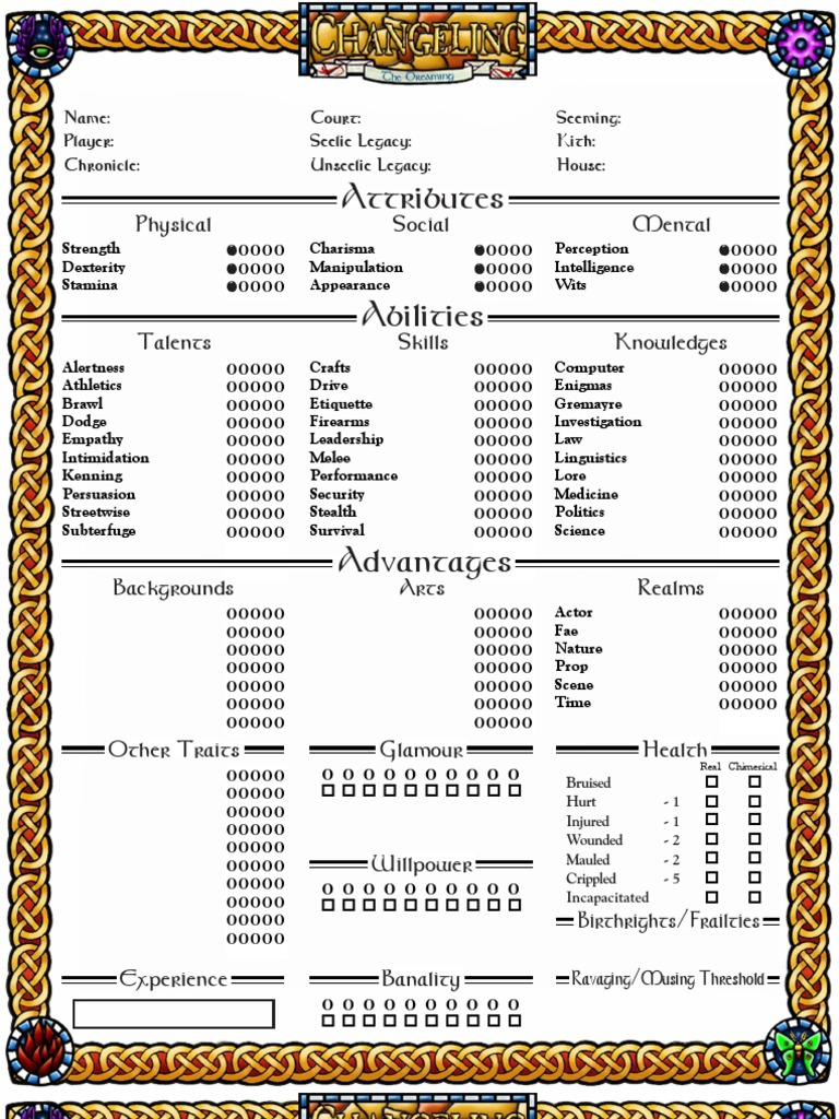 Changeling the Dreaming Character Sheet