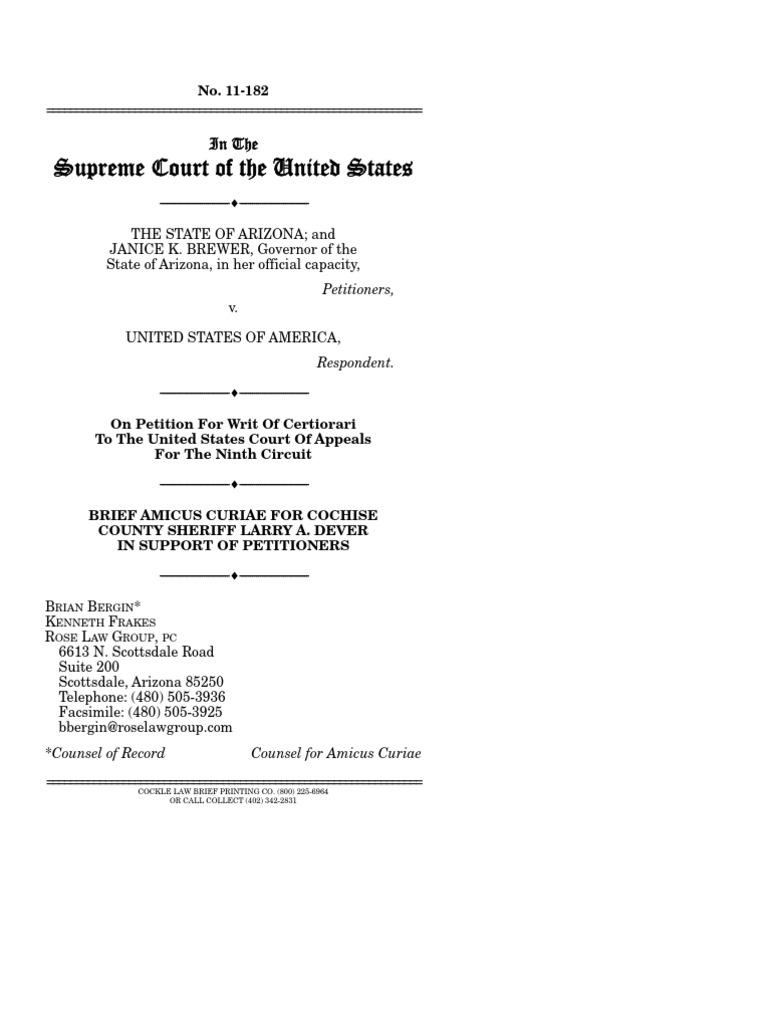 Border Sheriff Amicus Curiae brief to SCOTUS | Federal