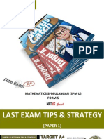 Modul 1 Last Exam Tips and Strategy 40% [Paper 1] - Maths Spm u